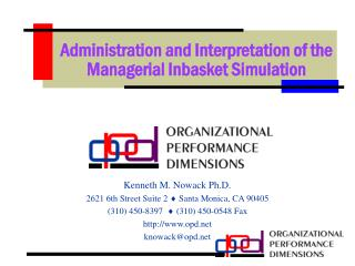Administration and Interpretation of the Managerial Inbasket Simulation