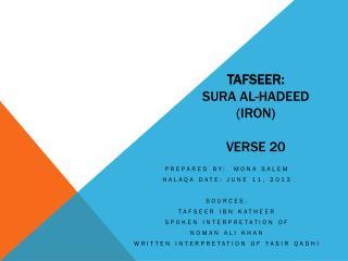Tafseer :  Sura  Al- Hadeed  (Iron) Verse 20