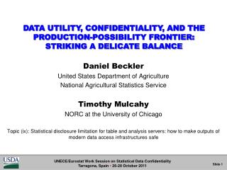 Daniel Beckler United States Department of Agriculture National Agricultural Statistics Service