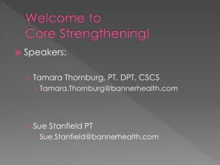 Welcome to Core Strengthening!