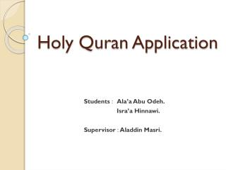 Holy Quran Application
