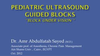 "Pediatric Ultrasound guided blocks "" block under vision """