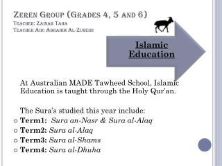 Zeren  Group (Grades 4, 5 and 6) Teacher: Zainab Taha  Teacher Aid:  Abrahim  Al- Zubeidi