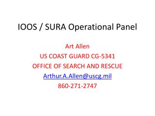 IOOS / SURA Operational Panel