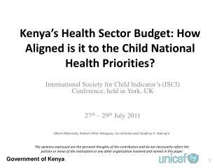 Kenya's Health Sector Budget: How Aligned is it to the Child National Health Priorities?