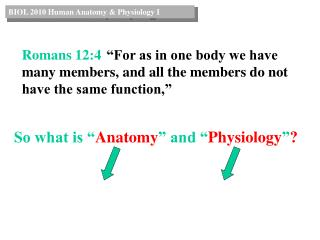 So what is � Anatomy � and � Physiology � ?