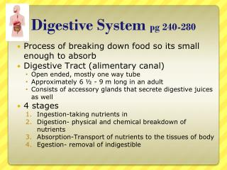 Digestive  System  pg 240-280