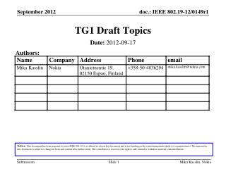 TG1 Draft Topics
