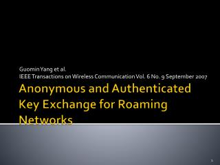 Anonymous and Authenticated Key Exchange for Roaming Networks