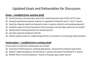 Updated Goals and Deliverables for Discussion
