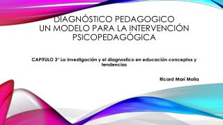 DIAGNÓSTICO PEDAGOGICO Un modelo para la intervención psicopedagógica