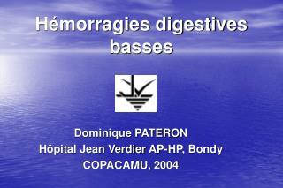 H morragies digestives basses