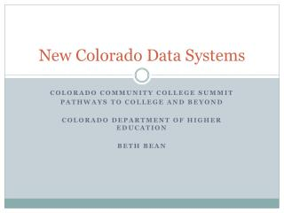 New Colorado Data Systems