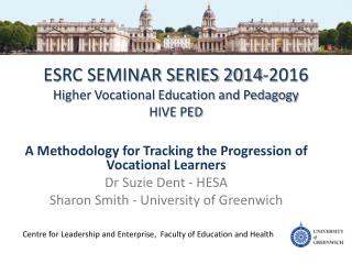 ESRC SEMINAR SERIES 2014-2016 Higher Vocational Education and Pedagogy HIVE PED