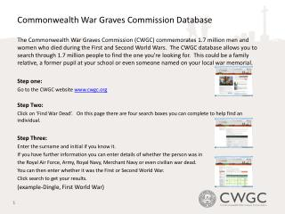 Commonwealth War Graves Commission Database