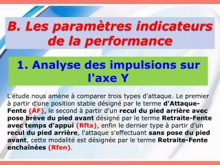 B. Les paramètres indicateurs de la  performance
