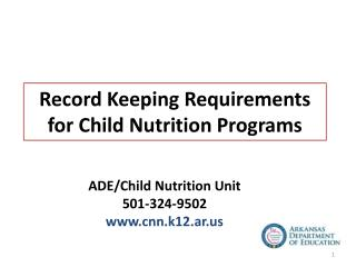 Record Keeping Requirements for Child Nutrition Programs
