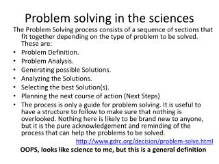 Problem solving in the sciences