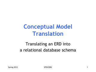 Conceptual Model Translation