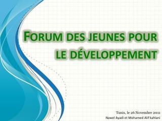 Forum des jeunes pour le d�veloppement