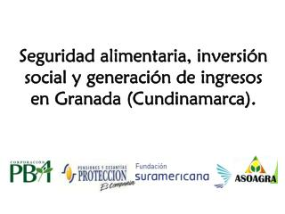 Seguridad alimentaria, inversión social y generación de ingresos en Granada (Cundinamarca).