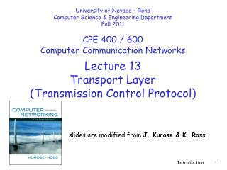 Lecture  13 Transport Layer  (Transmission Control Protocol)