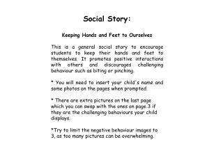 Social  Story: Keeping  Hands and Feet to Ourselves