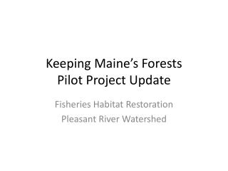 Keeping Maine�s Forests  Pilot Project Update