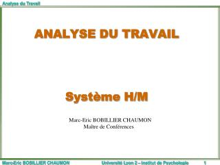 ANALYSE DU TRAVAIL     Syst me H