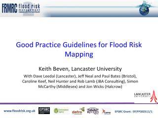Good Practice Guidelines for Flood Risk Mapping