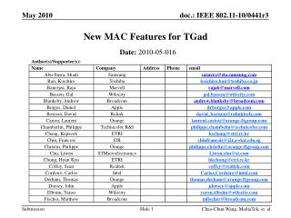 New MAC Features for TGad