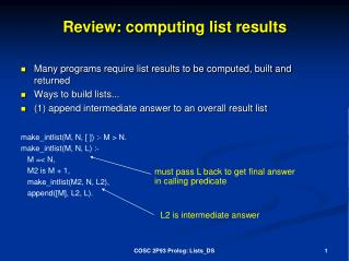 Review:  computing list results