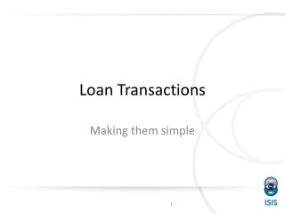 Loan Transactions