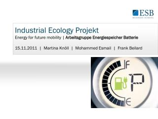 Industrial Ecology  Projekt Energy for future mobility |  Arbeitsgruppe Energiespeicher Batterie
