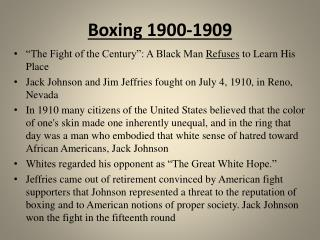 Boxing 1900-1909