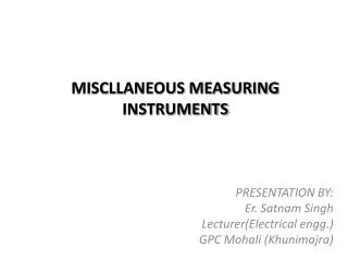 MISCLLANEOUS MEASURING INSTRUMENTS