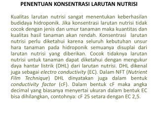 PENENTUAN KONSENTRASI LARUTAN NUTRISI