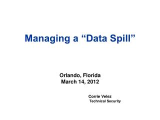 Managing a �Data Spill�