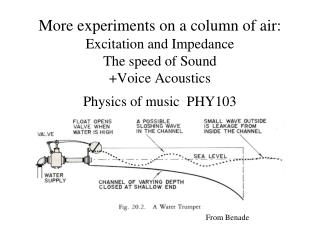 More experiments on a column of air:  Excitation and Impedance  The speed of Sound Voice Acoustics