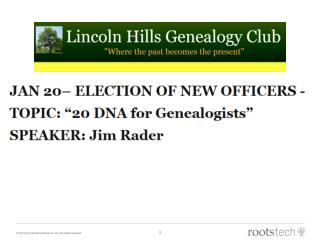 Introduction to  DNA  for Genealogists
