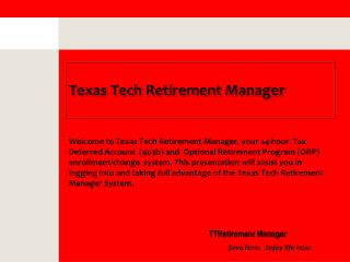 Texas Tech Retirement Manager