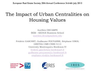 The Impact of Urban Centralities on Housing Values