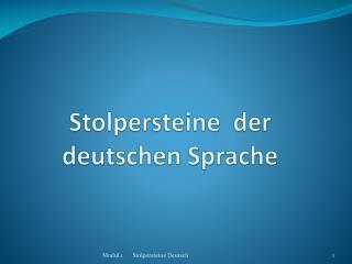 Stolpersteine  der deutschen Sprache