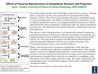 Effects of Precursor Nanostructure on  Geopolymer  Structure and Properties