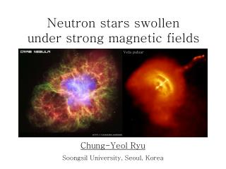 Neutron stars swollen  under strong magnetic fields