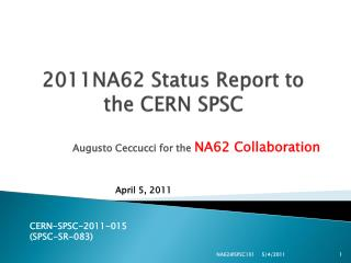 2011NA62 Status Report to the CERN SPSC