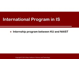 International Program in IS