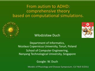 From autism to  ADHD:  comprehensive  theory  based  on computational simulations.