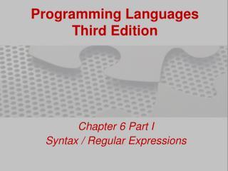 Programming Languages Third Edition