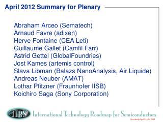 April 2012 Summary  for  Plenary